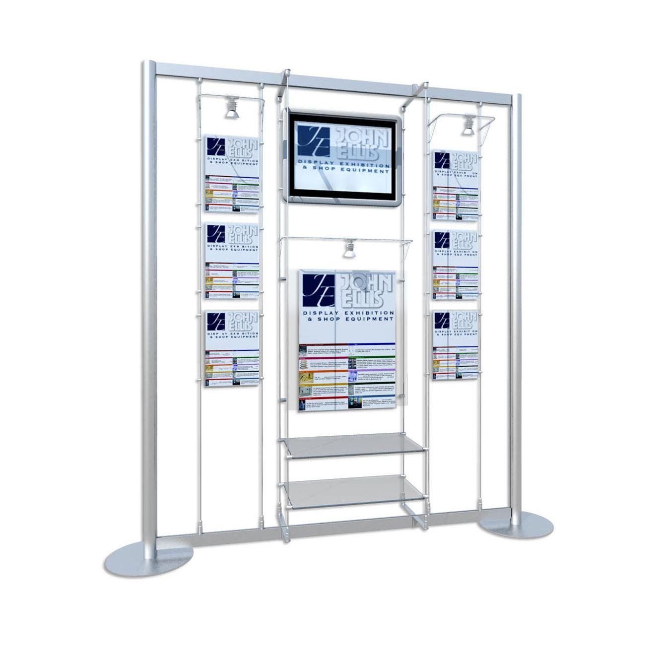 Freestanding Digital Screen / A4 & A2 Poster Holders with Lights / 2 x Glass Shelves