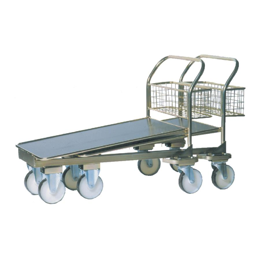 Zinc Plated Nesting Cash & Carry Trolley With Wooden Base & Basket