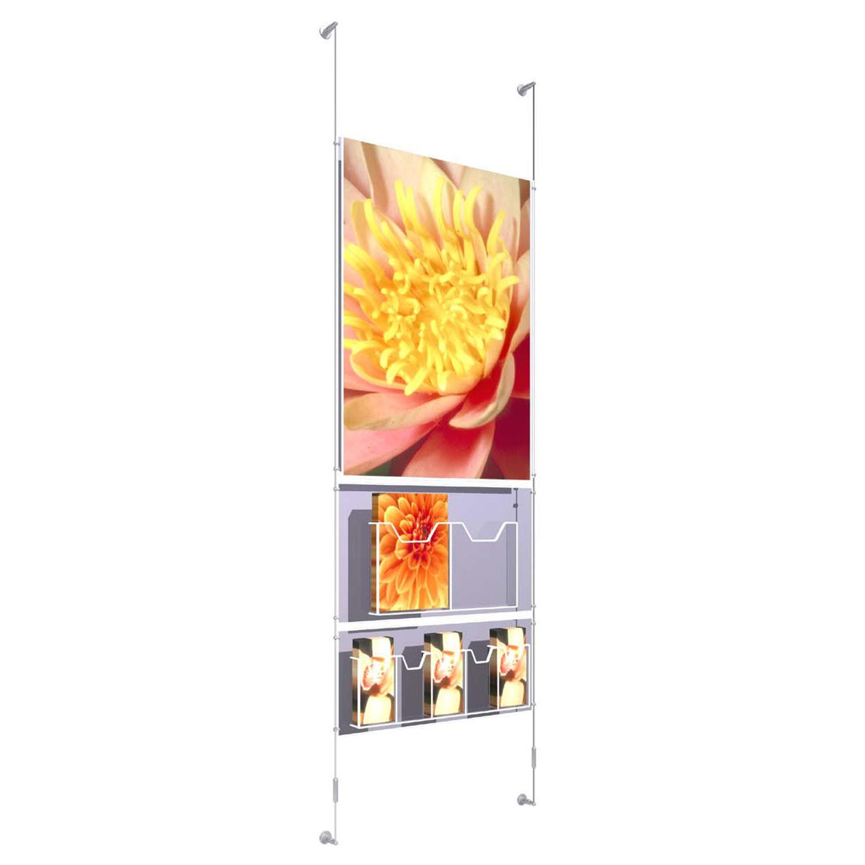 Wall Mounted Poster Kit A1 x 1 with 1 x Double A4 Dispenser and 1 x Quintuple 1/3 A4 Dispenser