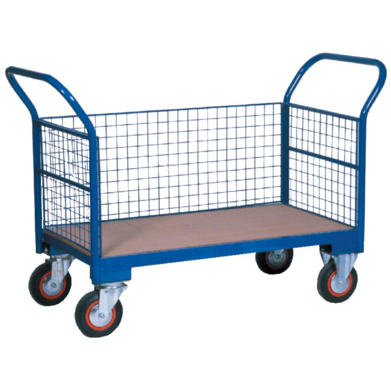 Warehouse Trolley Twin-Handled With Wire Ends & One Wire Side