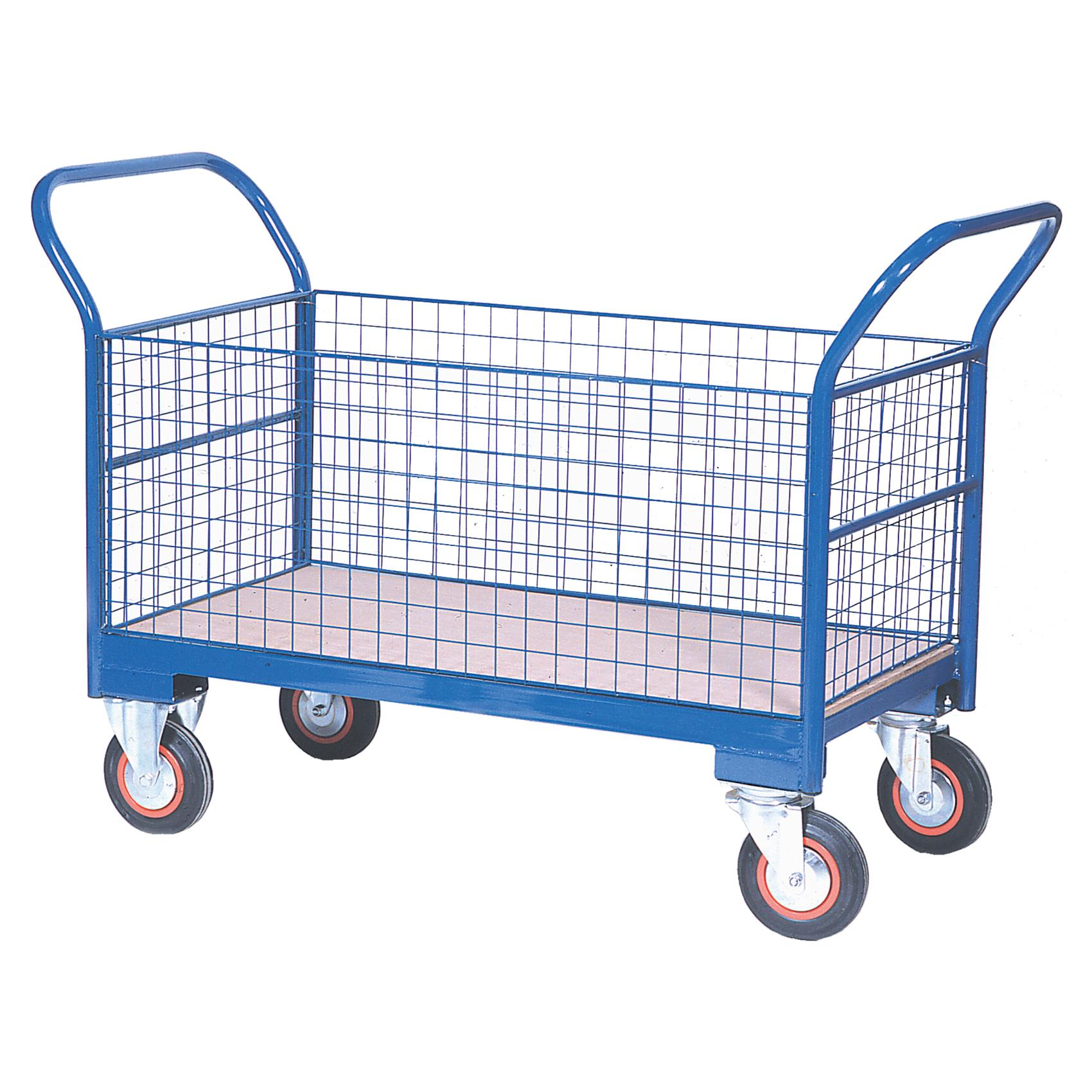 Warehouse Trolley Twin-Handled With Wire Ends & Sides