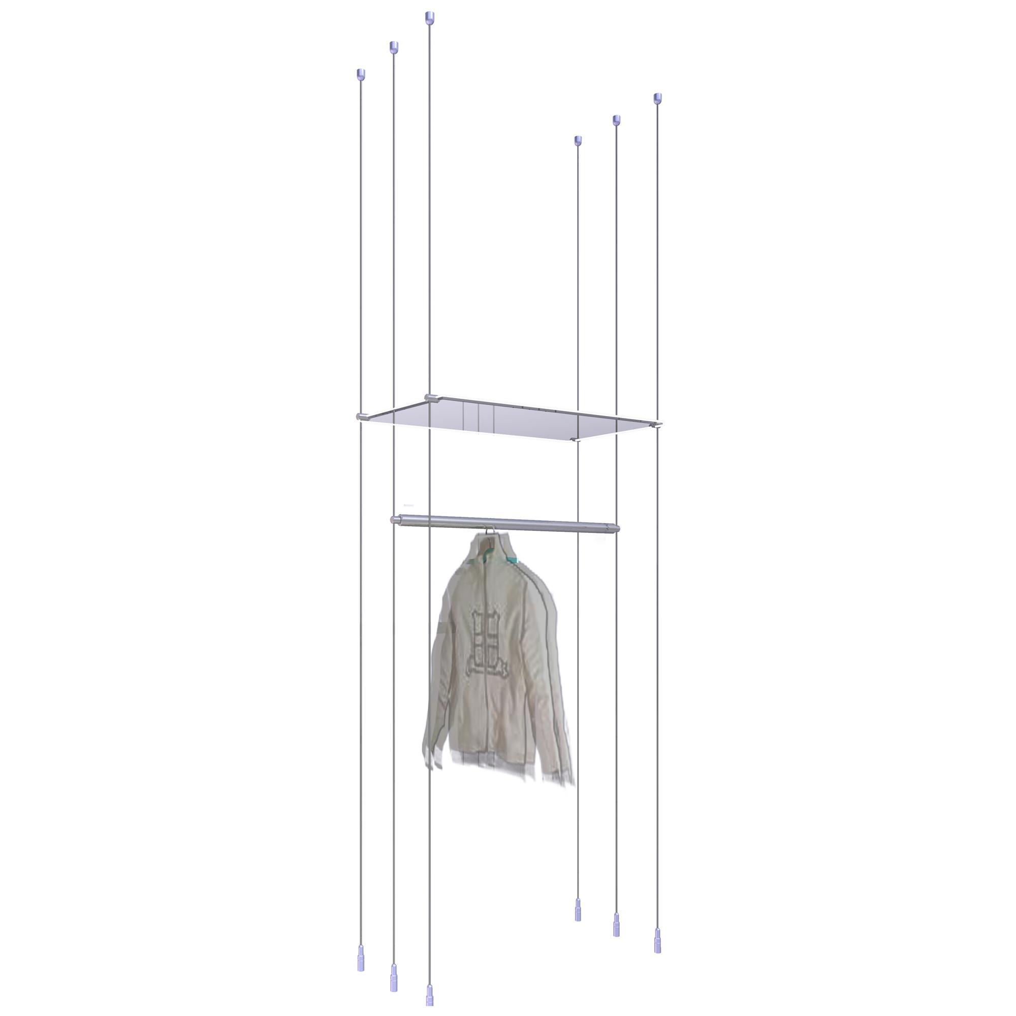 Single Hanging Rail with Shelf