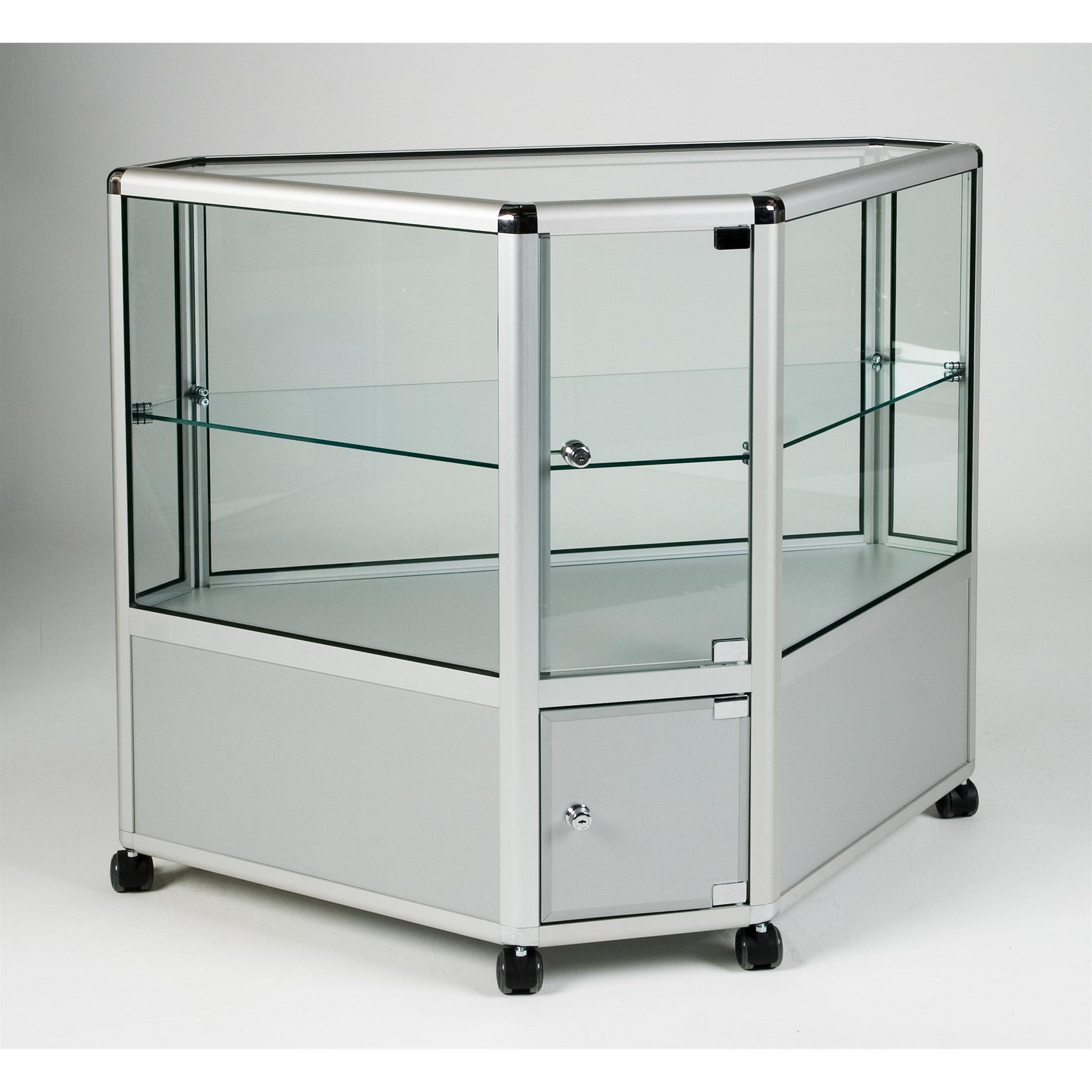 UB.023H Counter 2/3 Display Corner Showcase > Aluminium & Glass ...
