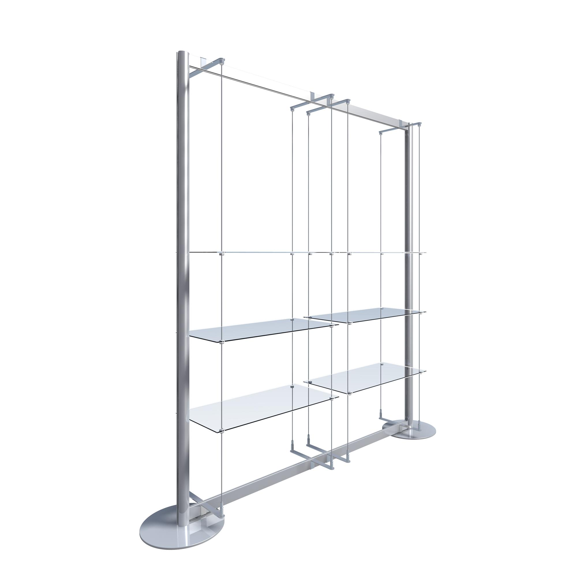 freestanding display with 6 glass shelves u003e freestanding window rh shopequip co uk hanging window display shelves salon window display shelves