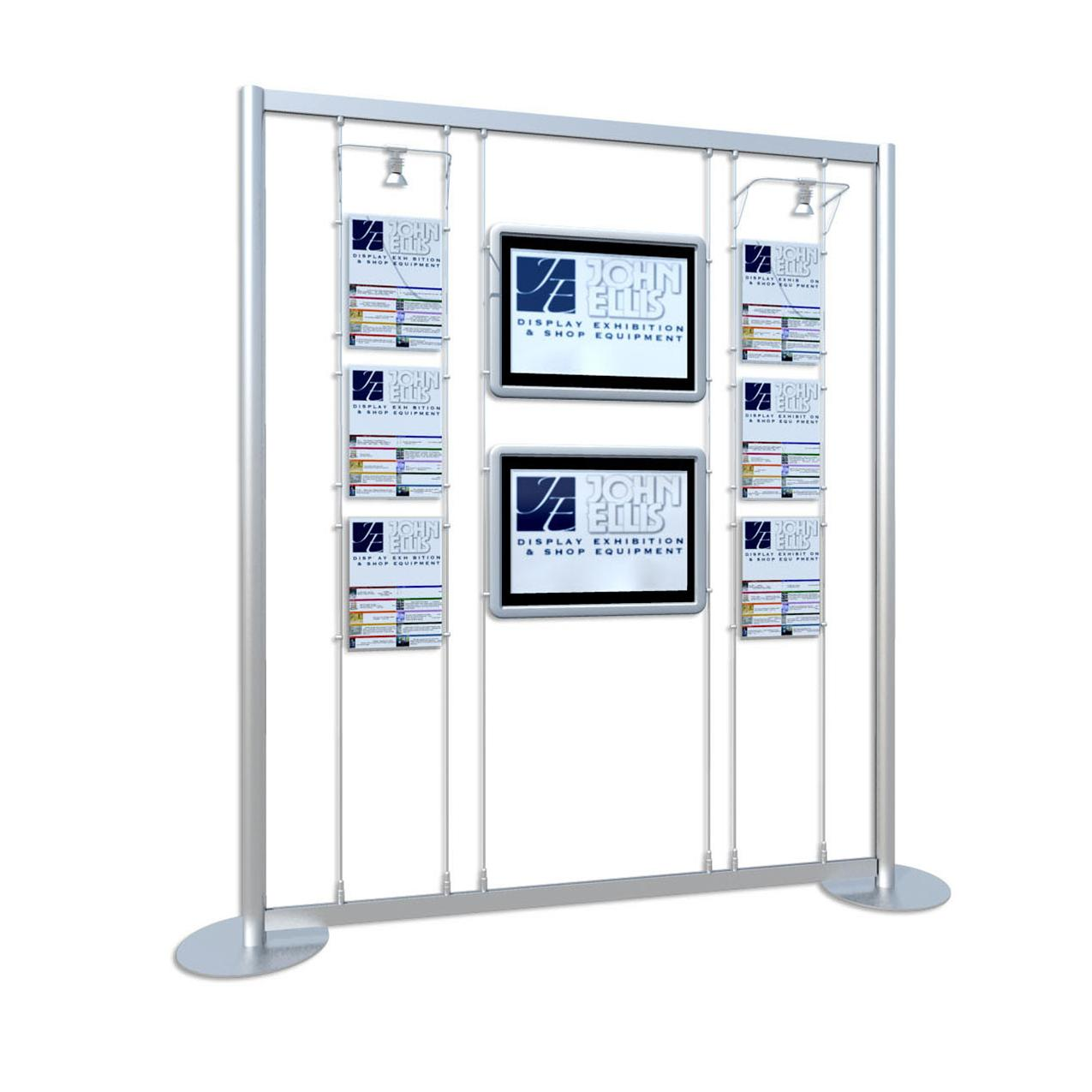 Freestanding 2 x Digital Screen / 6 x A4 Poster Holders with Lights