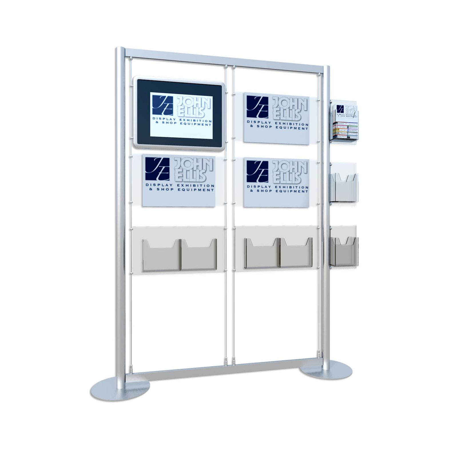 Freestanding Digital Screen / 3 x A3 Poster Holder / A4 & A5 Leaflet Dispenser