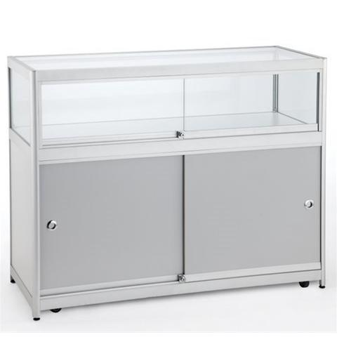 Flat Pack Glass & Aluminium Counter With Lighting