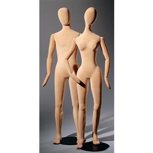 Slim Line Flesh-Coloured Flexible Mannequins Without Features