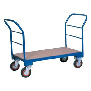 Warehouse Trolley Twin-Handled With Wooden Base