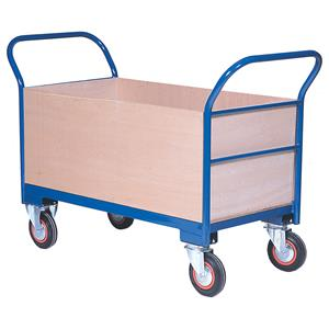 Warehouse Trolley Twin-Handled With Wooden Ends & Sides