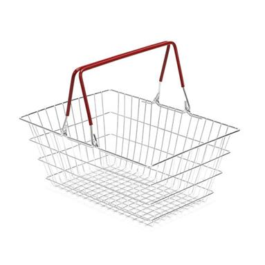Wire Shopping Baskets 10-Pack - Red Handle