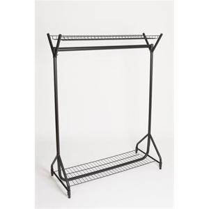 4' Black Garment Rail With Top & Bottom Shelf