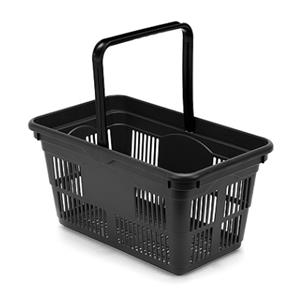 Plastic Shopping Basket Black 24 Litre - 10 Pack