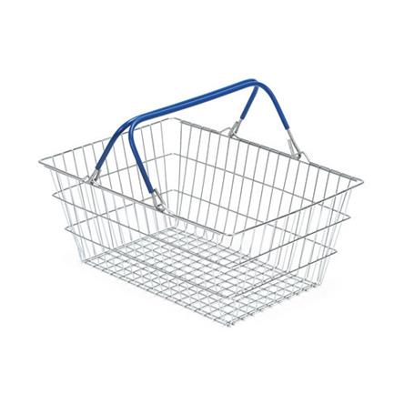 Wire Shopping Baskets 10-Pack - Blue Handle