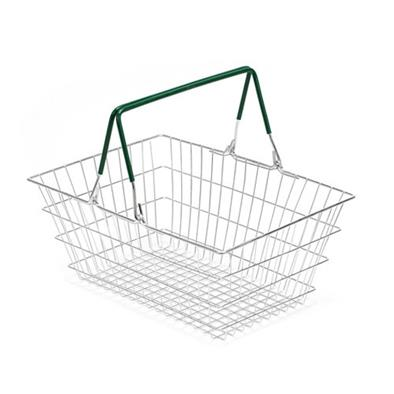 Wire Shopping Baskets 10-Pack - Green Handle